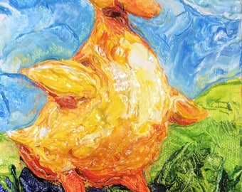Spring Duckling 5 by 7 Inch Original Impasto Oil Painting by Paris Wyatt Llanso