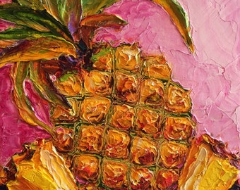 Tropical Pineapple 10x10 Inch Original Impasto Oil Painting by Paris Wyatt Llanso