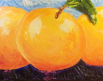 Grapefruit 8x24 Inch Original Impasto Oil Painting by Paris Wyatt Llanso