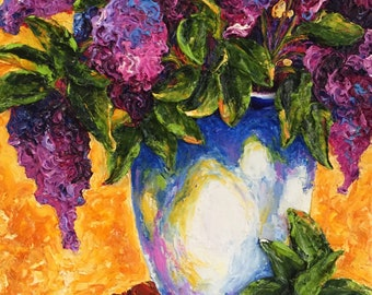 Lilac and White Vase 11 by 14inch  Original Impasto Oil Painting by Paris Wyatt Llanso