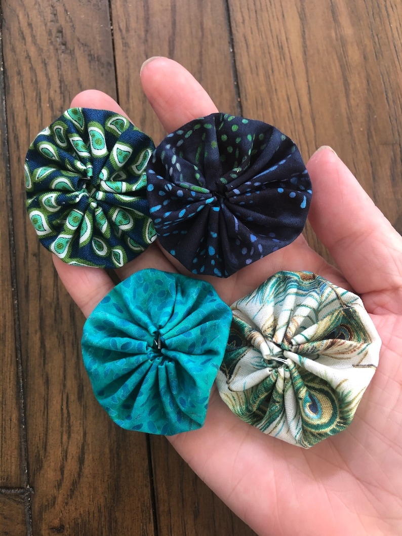 embellishments for scrapbook APPLIQUE 2 inch sewing yoyos Quilting Yoyos peacock teal blue matching fabrics