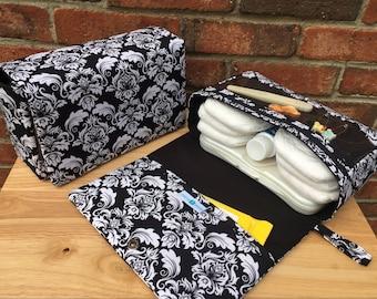 Black damask diaper bag with clear zipper pouch, diaper clutch, nappy bag, for new parents, diaper purse