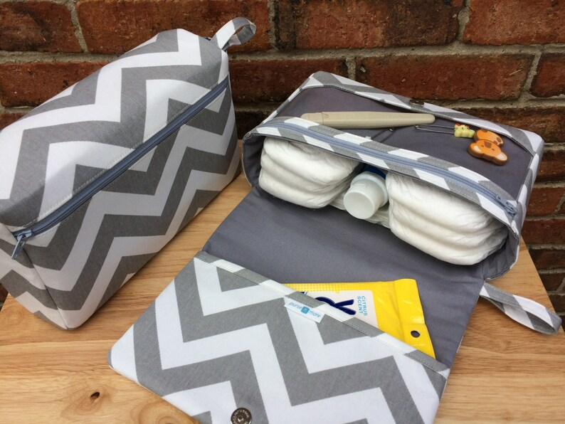 Grey chevron diaper bag diaper clutch gray baby bag with image 0
