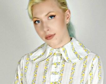 Yellow Floral Print Shirt,  Peter Pan Collar Blouse, 1960s Shirt, Striped Shirt,Secretary Shirt,  Womens Work Shirt, Size Medium