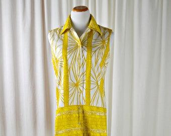 Vintage Hawaiian Shirt, 70s Blouse, Alex Coleman, Tunic Shirt, Yellow & White, Womens Hawaiian Shirt, Summer Cotton Tops, Size L , 1970s Top