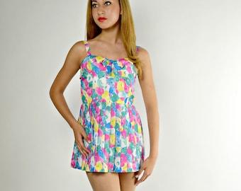 Floral Romper, Vintage Swimwear, Playsuit Floral, 1 Piece Swimsuit, One Piece Bathing Suit, Pinup Romper, Romper Swimsuit, Skirted Swimsuit