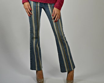 21da1c0d Vintage Striped Jeans Women, Flare Jeans, Bodycon Jeans, Bootcut Denim, Diesel  Style Lab, Sexy Jeans, White Washed Denim