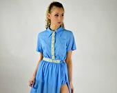 1950s Blue Romper, Vintage Mini Dress, Bodysuit Skirt, Exercise Suit, Pin Up Romper, Grecian Costume, Greek Costume, Roman Costume