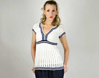 Sailor Sweater, Spring Sweater for Women, Sweater Tunic, Cotton Sweater, Nautical Clothing, Sailor Top, White Summer Sweater, Pin Up Sweater