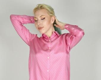 Pink Polka Dot Shirt, Pink Silk Shirt, Jones of New York, Long Sleeve Shirt, Office Shirt, Professional Shirt, Preppy Shirt, Size Small