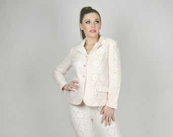 Lace Suit Women, Spring Suit, Evan Picone Suit, White Lace Suit, Three Piece Suit, Pink & White, Pencil Skirt, Skinny Pants, Size Small,