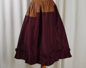 1800s Antique Petticoat, Victorian Petticoat, 1800s Petticoat, Under Skirt, Ruffle Petticoat, Steam Punk Skirt, Burgundy Color