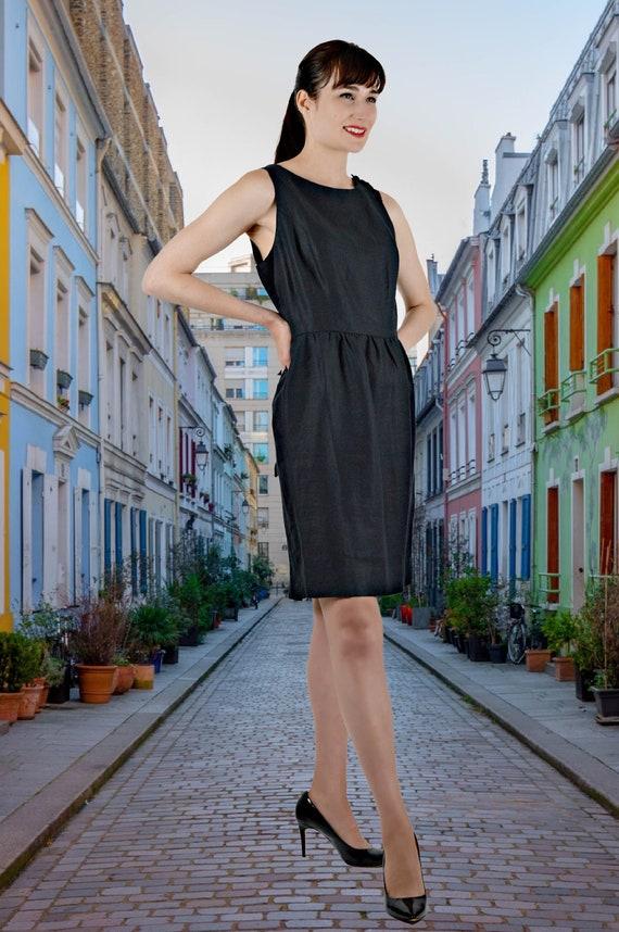 Black Linen Open Back Dress, 90s Short Cotton Line