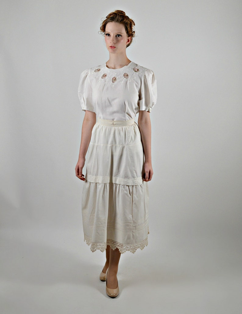 Turn of the Century Fashion Antique Half Slip Victorian Skirt Slip 1900s Cotton Petticoat Steam Punk Skirt 1900s Lingerie