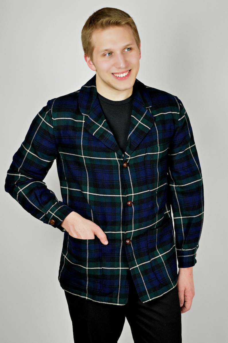 1950s Mens Jacket Check Plaid Blue Plaid Jacket Rockabilly Etsy
