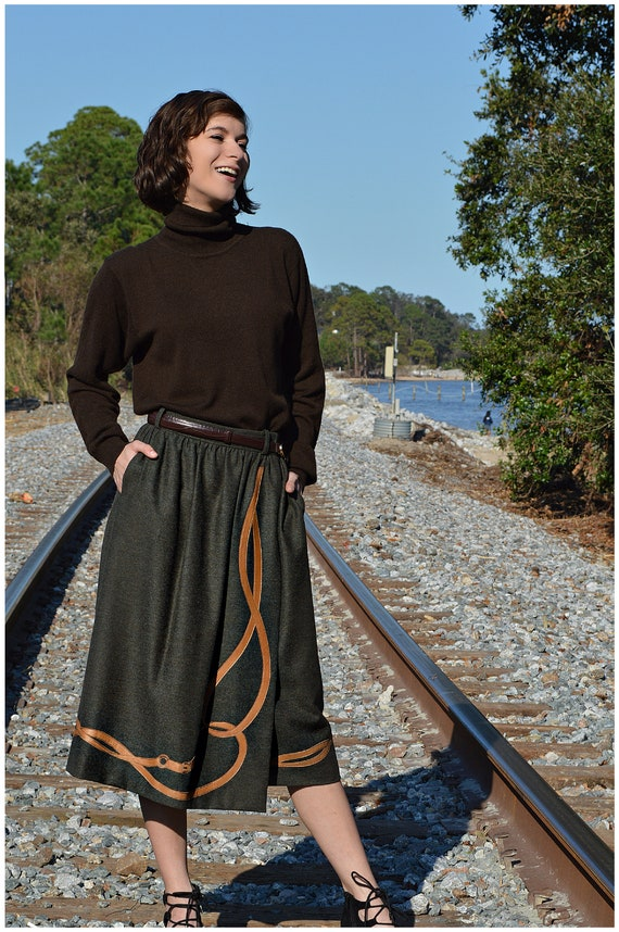 Vintage Gucci Skirt, Wool & leather, Pleated Wrap