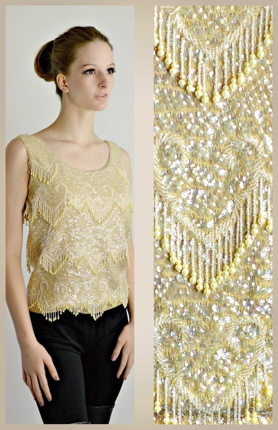 Vintage Pearl Beaded Top, 1950s Cocktail Sweater,