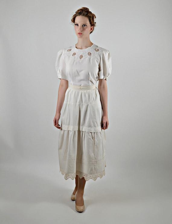 1900s Cotton Petticoat, Victorian Skirt Slip, Stea
