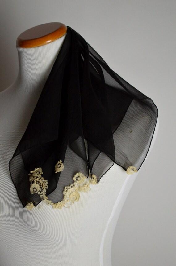 1940s Black Hankie, Black Silk Scarf, Victorian La