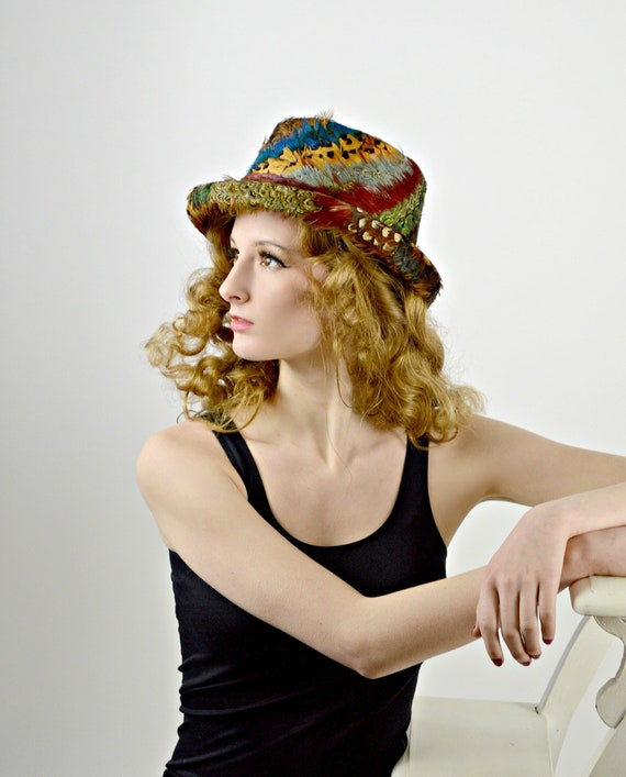 Womens Fedora Hat, Vintage Feathered Hat, Fall Win