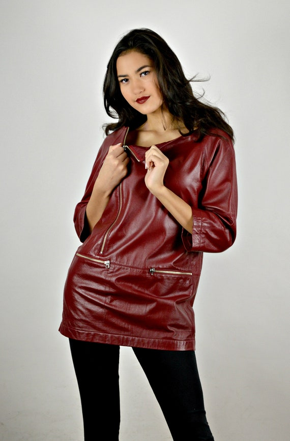 Red Leather Top, Womens Leather Clothing, Modern C