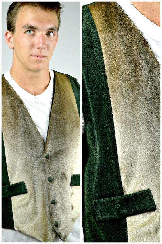 Mens Fur & Leather Vest, Green Vest, Vintage 80s W