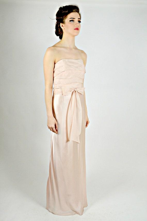 Pastel Pink Long Dress, Formal Dress, Strapless Lo