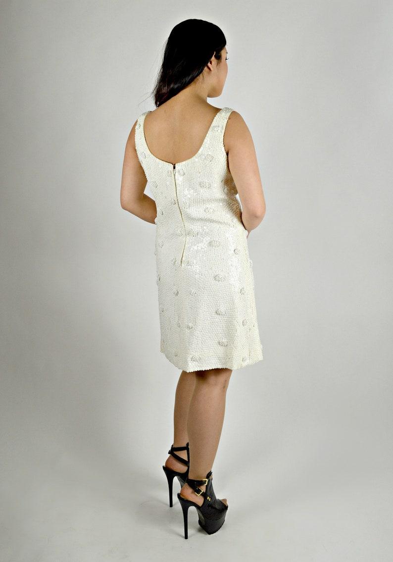 2e88282449 Vintage White Sequin Dress 1960s Dress Rehearsal Dinner