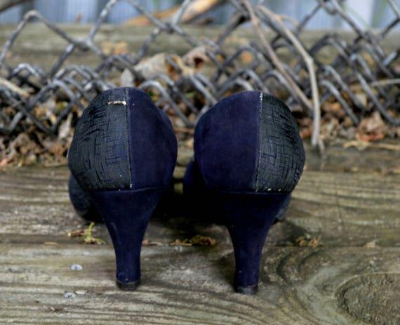 1940s Pin Toe Dance Heels Heels Navy Suede 8 Rockabilly 40s Heels Heels Blue Up Peep Shoes Heels Shoes Swing Heels Size 5 qqxrABw