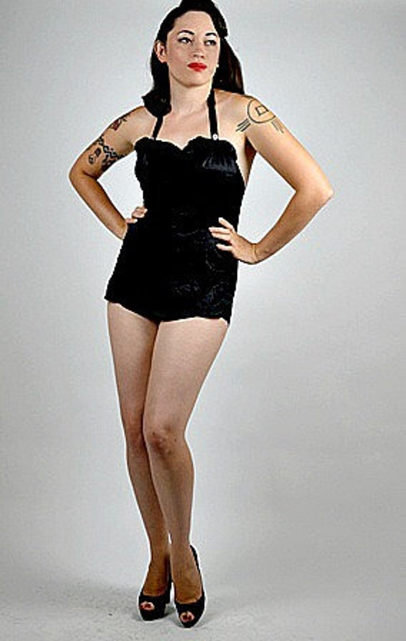fdbc83ac90d Marilyn Monroe Swimsuit 1950s One Piece Black Swimsuit Pinup | Etsy