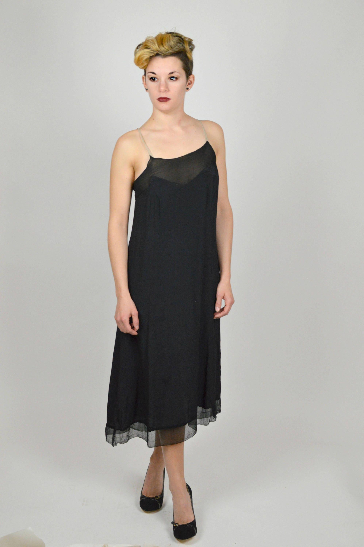 Schwarze Flapper 1920er Jahre Unterkleid Gatsby Party Kleid