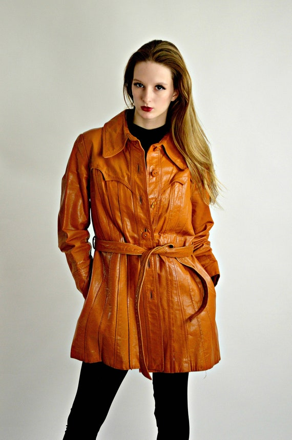 Vintage 70s Rust Leather Jacket, Mid Thigh Length,