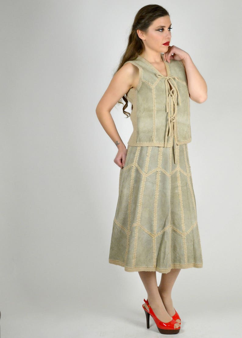 Vintage Boho Leather Dress Suede Skirt Set Leather Vest and Skirt Outfit 70s Suede Knit Dress 1970s Suede Sweater Dress