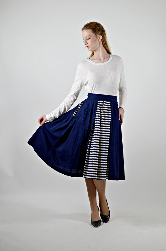 50s Blue Skirt, Striped Blue & White, Sailor Style