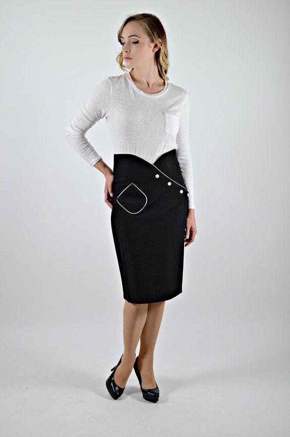 Black Pencil Skirt, High Waist, Pencil Wiggle Skir