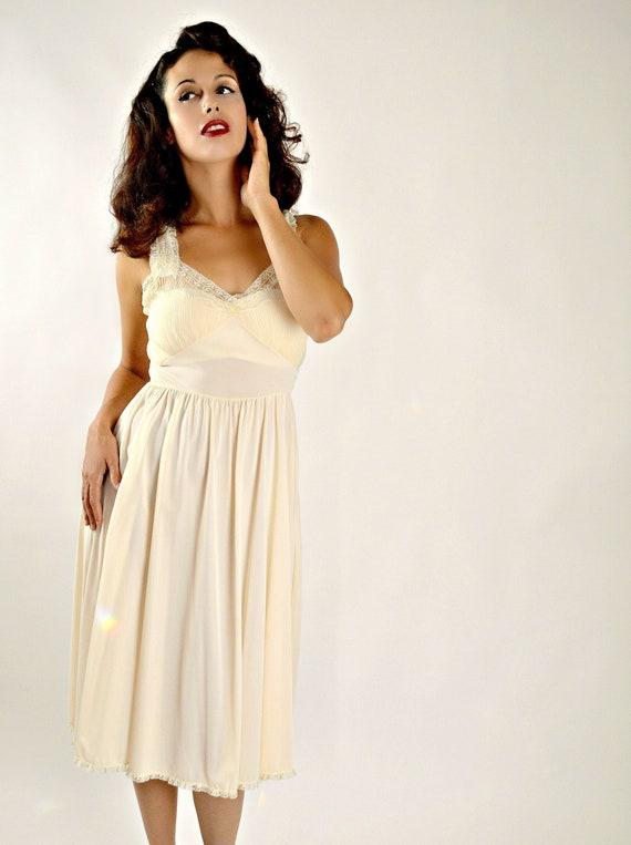50s Pale Pink Slip, Dress Slip, Vintage Lingerie,