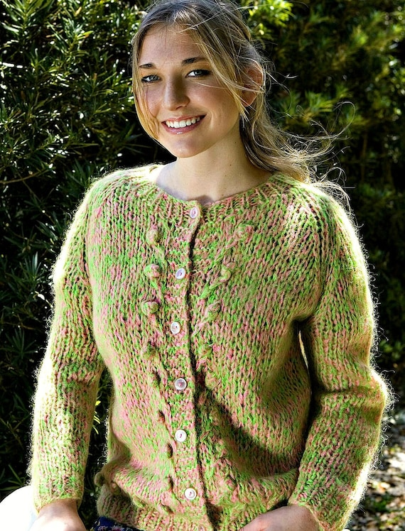 Vintage Pink & Green Cardigan Sweater Size Medium… - image 4