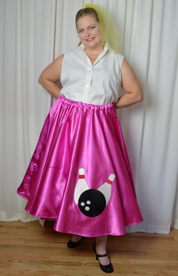 Plus Size Poodle Skirt, 1950s Style, 50s Pink Poodle Skirt, Satin Finish,  Bowling Ball, Halloween 50s Costume, Sock Hop Skirt,