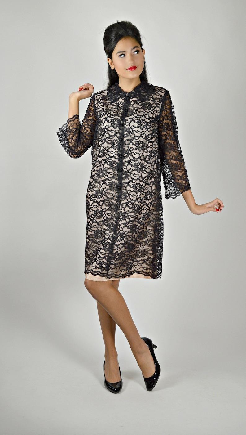 695ea643c4a2 60s Black Lace Dress 1960s Cocktail Dress Black   Pink