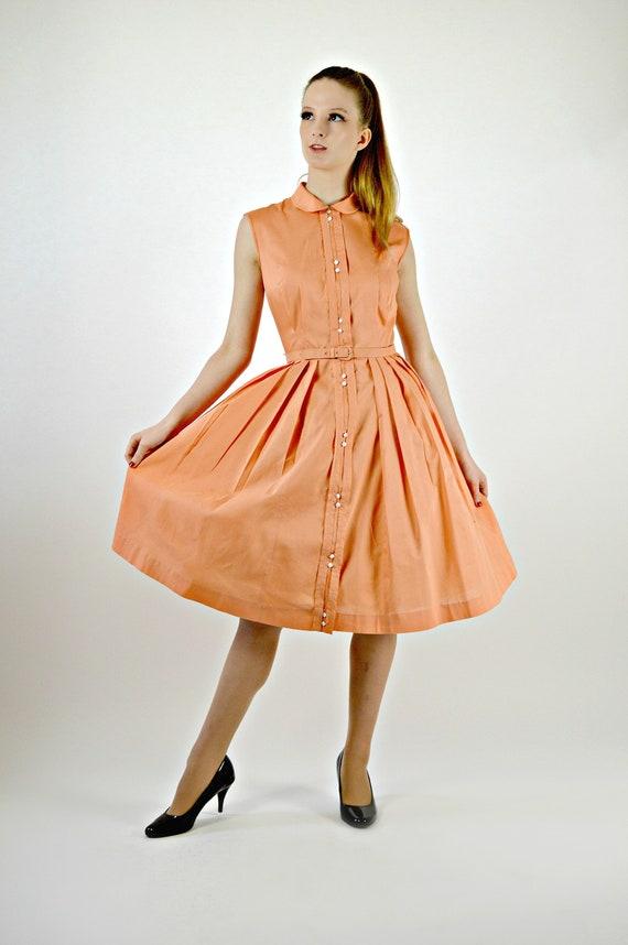 Womens Orange Easter Dress, 50s Swing Dress, Pleat