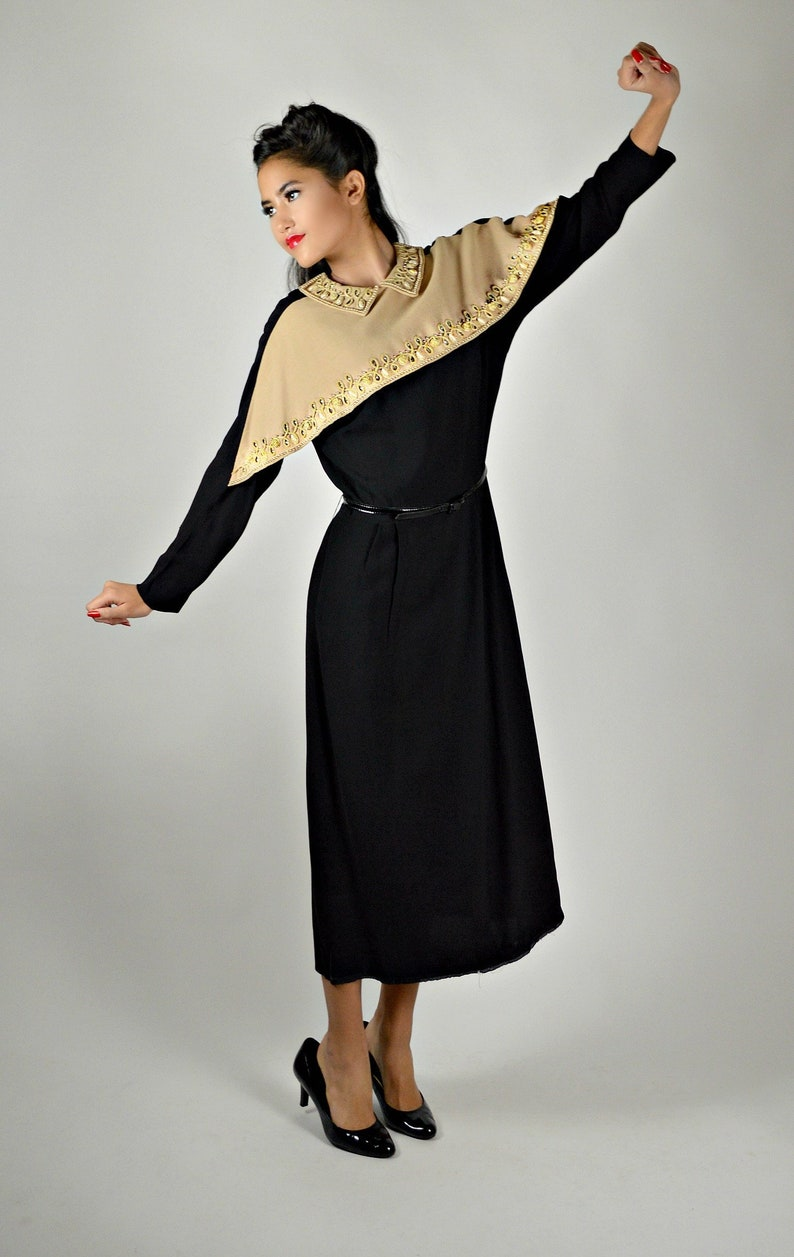 93f9d340a 1940s Black Dress Vintage Black Cocktail Dress Western | Etsy