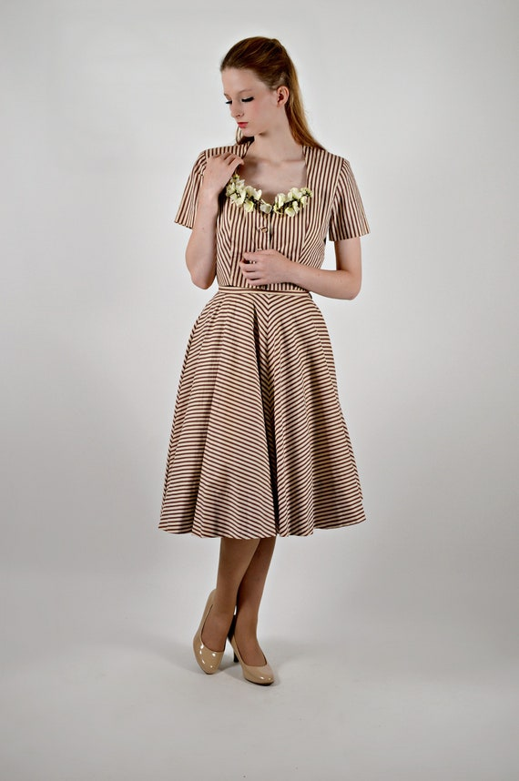 50s Day Dress, Stripped Jacket and Skirt, 1950s Br