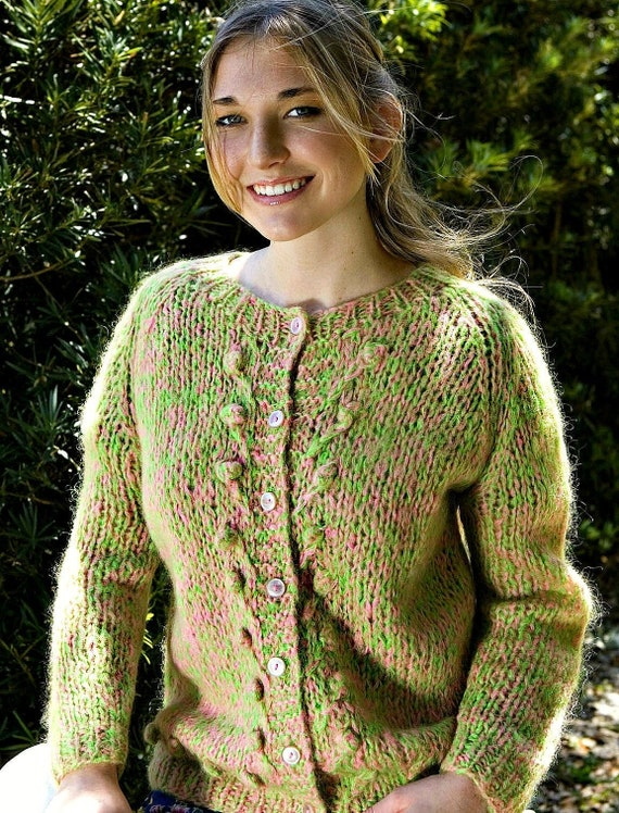 Vintage Pink & Green Cardigan Sweater Size Medium… - image 1