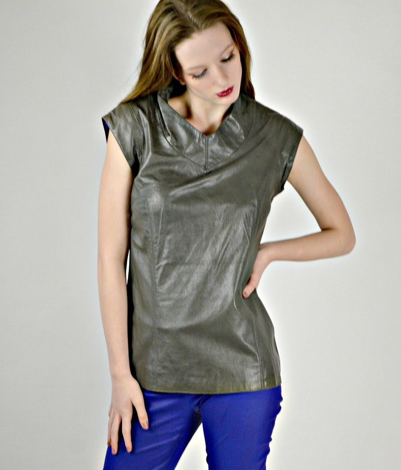 f1072d8d61457 Leather Shirts Women Gray Leather Blouse Short Sleeve