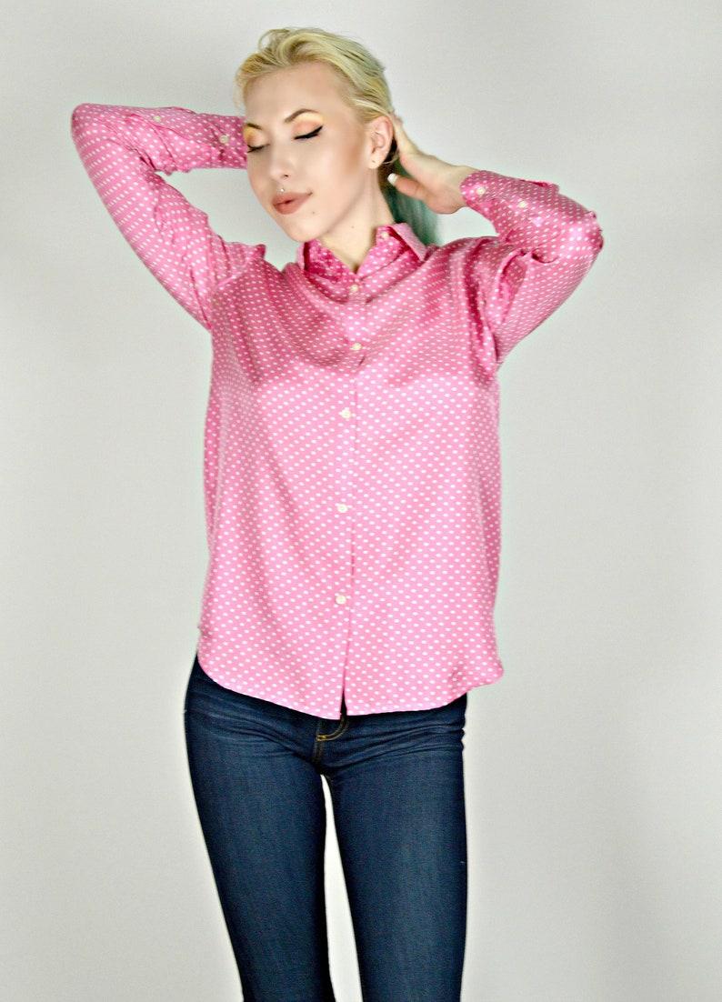 Long Sleeve Preppy Shirt Work Shirt Women Pink Silk Blouse Pink Polka Dot Shirt Office Blouse Jones of New York