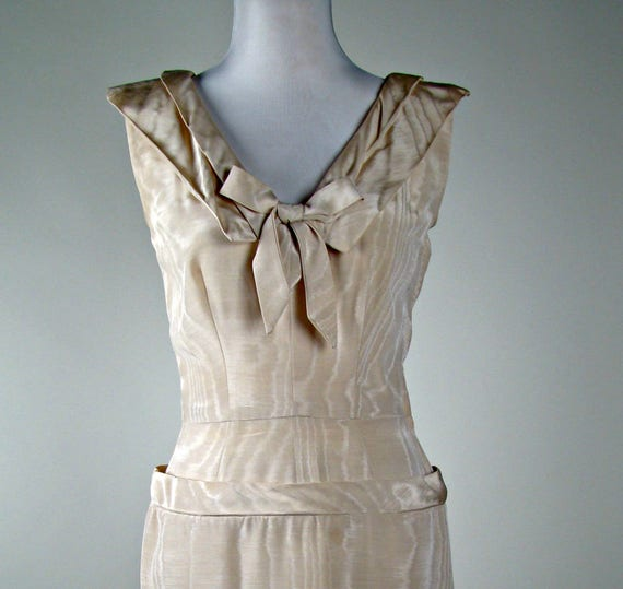 1950s Fabric Rehearsal Dress Rockabilly Dress Wiggle Beige Clothing Dinner Moire Dress rRqrxX
