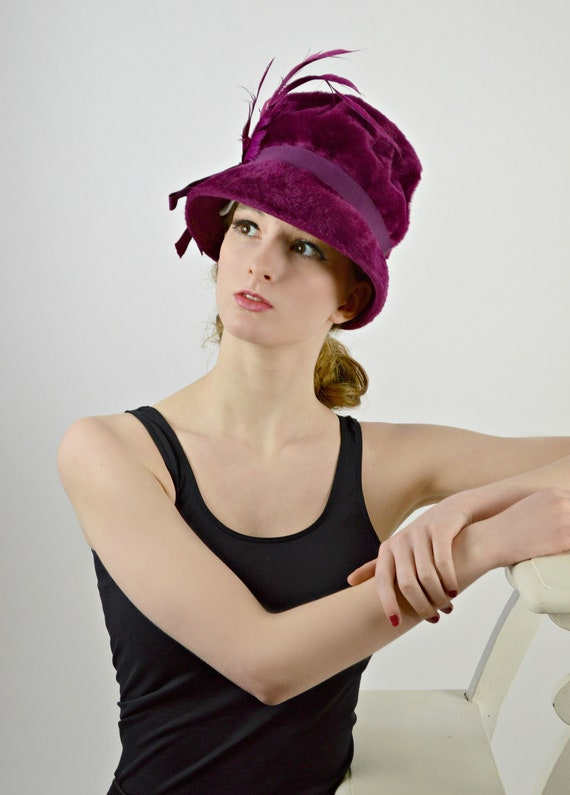 1940s Purple Hat, Mid Century Bucket Hat, Fall Win