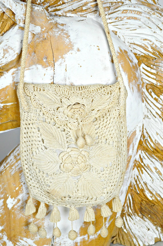 Antique Crochet Lace Purse, Victorian Edwardian Ba