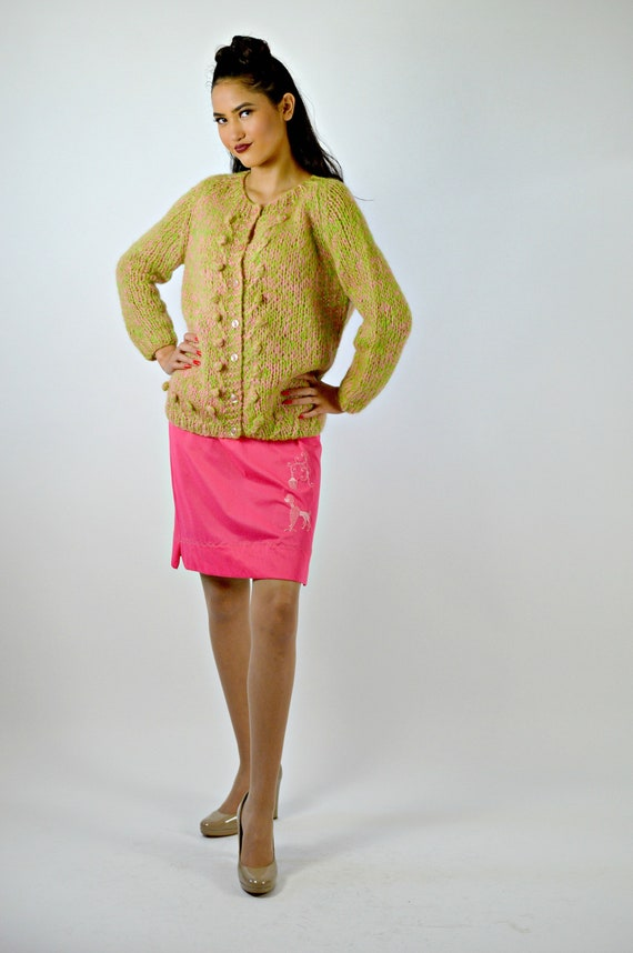 Vintage Fall Hand Knit Cardigan Sweater, 1950s Car