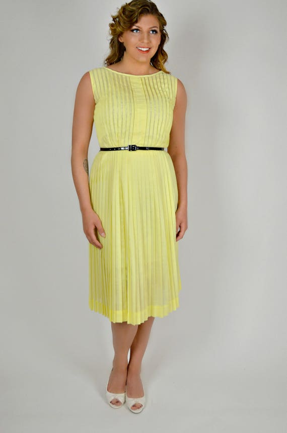 1950s Yellow Dress Large, Pleated Day Dress, Vntag